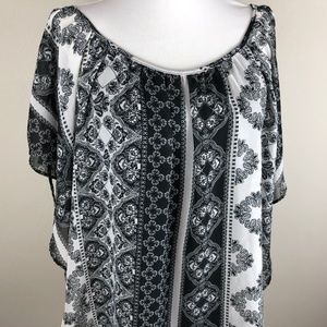 AGB Butterfly Sleeve Blouse Size XL Black White